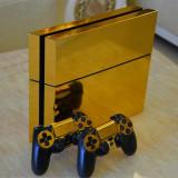 Skin / Sticker Glossy Gold Playstation 4 PS4 + 2 Skin controller +BONU, Huse si skin-uri