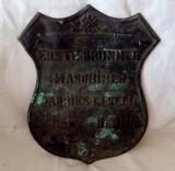 RECLAMA GERMANA BRONZ MASIV EMBLEMA FOARTE VECHE 1800 - 1920