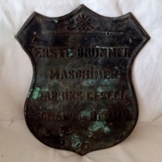 RECLAMA GERMANA BRONZ MASIV EMBLEMA FOARTE VECHE 1800 - 1920 - Reclama Tiparita