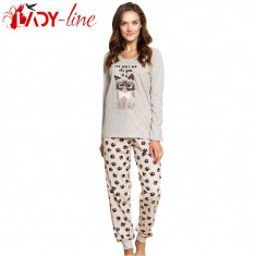 Pijama Dama 100% Bumbac, It's Not Me- It's You, Vienetta - Pijamale dama, Marime: S, M, L, Culoare: Crem
