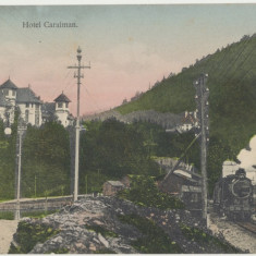 CFL 1906 aprox Ilustrata SINAIA jud Prahova hotel Caraiman si tren in gara