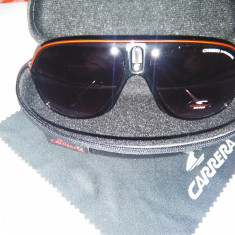 Ochelari de soare unisex CARRERA Metal Black & Red UV 400, Protectie UV 100%