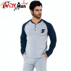 Pijama Barbati 100% Bumbac, Athletic F5, Falkom, Cod 1494 - Pijamale barbati, Marime: M, Culoare: Gri
