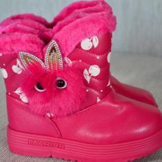 Cizme copii cu iepure imblanite impermeabile 28 29 30 31 32, Culoare: Din imagine, Fete, Piele sintetica