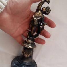 SUPERBA STATUETA BRONZ INGERASI FRANTA PARIS POSTAMENT MARMURA CADOU - Metal/Fonta, Ornamentale