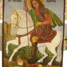Icoana veche Sf Dumitru calare pictura pe lemn arta populara 25x35 cm - Icoana pe lemn