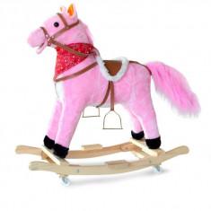 Calut-balansoar roz pentru copii cu roti - Balansoar interior, 1-3 ani, Lemn