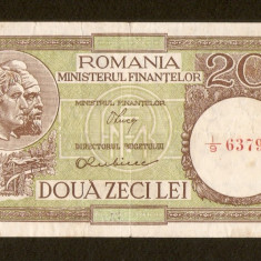 20 Lei 1947 1948 1950, semnaturi Luca / Rubicec, fil RPR orizontal. - Bancnota romaneasca