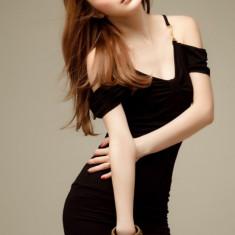 Rochie Sexy cu Bretele Amy Neagră, Marime: Marime universala