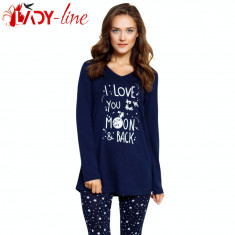 Pijama Dama 100% Bumbac, I Love You To The Moon&Back, cod 1502 - Pijamale dama, Marime: M, L, XL, Culoare: Albastru