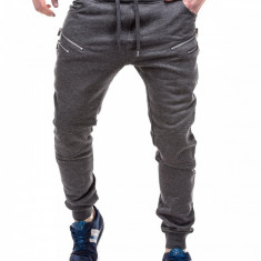 Pantaloni pentru barbati de trening, gri-inchis, fermoare decorative, cu banda jos, siret - P291 - Pantaloni barbati, Marime: XXL