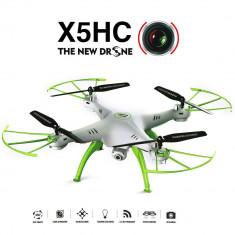 Drona Syma X5HC Quadcopter cu Telecomanda, LED si Camera Foto-Video HD de 2MP, Distanta de Zbor 50m, Frecventa 2.4GHz