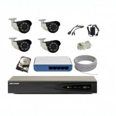 Kit complet 4 camere supraveghere IP 4 MP 40 m IR cu NVR 4K Hikvision+hard
