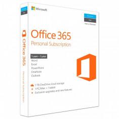 Microsoft Office 365 Personal, 32/64 bit, Engleza, Subscriptie 1 an - 1 utilizator, pentru PC/Mac, Telefon si Tableta