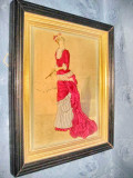Aplica tablou vechi-Femeie de epoca cu evantai semnata G.Ciomin.
