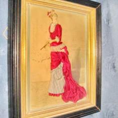 Aplica tablou vechi-Femeie de epoca cu evantai semnata G.Ciomin. - Broderie