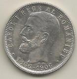 ROMANIA   1  LEU  1906  Argint 835 / 1000  [1]   XF+ ,   livrare  in  cartonas