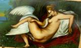 Tablou   vechi, LEDA  AND  THE  SWAN,  ulei  pe  carton, Nud, Realism