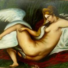 Tablou vechi, LEDA AND THE SWAN, ulei pe carton - Pictor strain, Nud, Realism