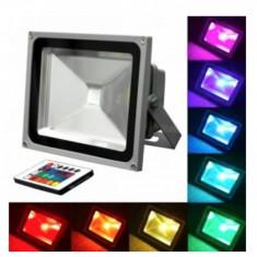 Proiector LED 30W RGB cu telecomanda reflector exterior iluminat arhitectural - Corp de iluminat, Lampi decorative