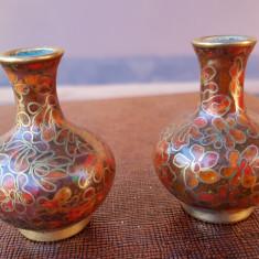 DOUA VAZA MINIATURI Cloisonne - Metal/Fonta, Ornamentale