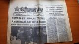 ziarul romania libera 28 aprilie- vizita lui caeusescu la semanatoare si grivita