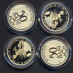 SET 2 BUCATI 50 BANI 2017 PROOF - 10 ANI DE LA ADERAREA ROMANIEI LA U.E. - Moneda Romania, Alama