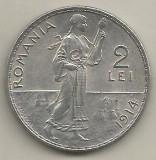 ROMANIA  2  LEI  1914  [1]  a UNC , luciu si patina   ,  livrare  in  cartonas, Argint