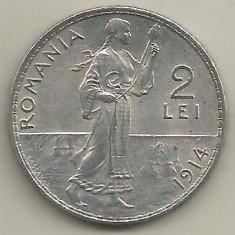 ROMANIA 2 LEI 1914 [1] a UNC, luciu si patina, livrare in cartonas - Moneda Romania, Argint