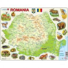 Puzzle Harta Fizica a Romaniei (RO), 68 piese Larsen LRK67-RO