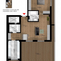 Apartament 2 camere, cu terasa, Doamna Ghica - Apartament de vanzare, 69 mp, Numar camere: 2, An constructie: 2017, Etajul 4