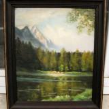 Tablou vechi pictura pe panza 1947 Peisaj montan dupa furtuna 61x71 cm - Pictor roman, Peisaje, Ulei, Realism