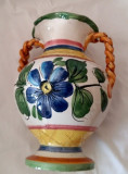 VAZA URNA  MAJOLICA CERAMICA REALIZAT MANUAL DECOR ORNAMENT MOTIV FLORAL