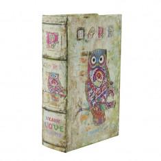 Cutie decor tip carte, lemn, imprimeu Bufnita, 11x4.5 cm