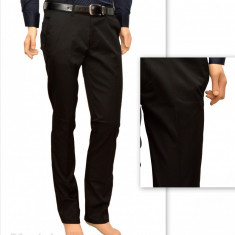 Pantaloni Slim Fit Negri bumbac - Pantaloni barbati eleganti-casual - marimea 29, Negru, Lungi