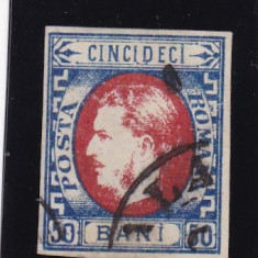 ROMANIA 1869 LP 29 b CAROL I CU FAVORITI VALOAREA 50 BANI ALBASTRU/ROSU STAMP - Timbre Romania, Stampilat