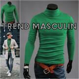 Helanca Bluza pe Gat Maleta Roll Neck Barbati Slim Verde, L, M, S, XS, Bumbac