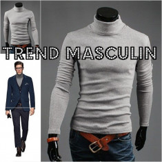 Helanca Bluza pe Gat Maleta Roll Neck Barbati Slim Gri Deschis - Bluza barbati, Marime: S, M, L, Bumbac