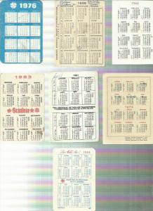 AMS. LOT DE 7 MINI CALENDARE PE ANII 1968, 1969, 1976, 1976, 1981, 1983, 1989