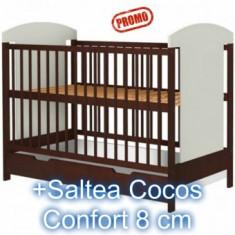 Patut copii cu sertar Kamilla Venghe +Saltea 8 cm - Patut lemn pentru bebelusi Hubners