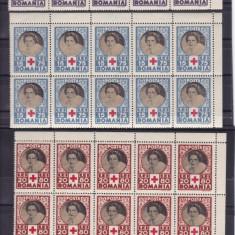 ROMANIA 1945, LP 165, CRUCEA ROSIE BLOCURI DE 10 TIMBRE MNH - Timbre Romania, Nestampilat