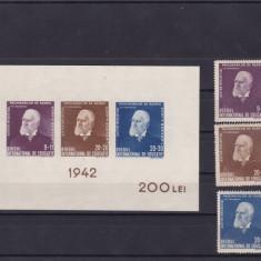 ROMANIA 1942  LP 147  LP 148  TITU MAIORESCU  SERIE SI COLITA  MNH, Nestampilat