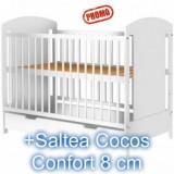 Patut copii cu sertar Kamilla Alb + Saltea 8 cm - Patut lemn pentru bebelusi Hubners