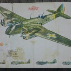 Afis romanesc/ poster avion Bristol Blenheim Bomber Mk. I// dimensiuni mari