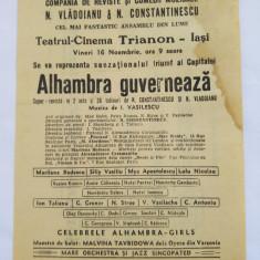 (T) Material promotional Turneul Alhambra - perioada interbelica, 1933, original - Partitura