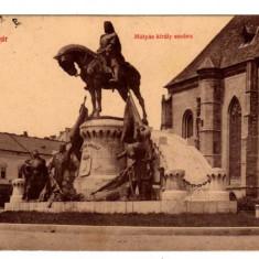 CLUJ STATUIA REGELUI MATYAS KOLOZSVAR EDITURA PAPETARIEI LEPAGE LAJOS - Carte Postala Transilvania dupa 1918, Circulata, Fotografie