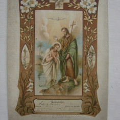 Imprimat tipografic religios privind nasterea si botezul unei persoane in 1930