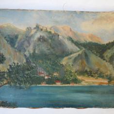 Peisaj vechi ulei pe panza - Tablou autor neidentificat, Peisaje, Impresionism