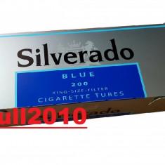 Tuburi SILVERADO ALBASTRU 200 tuburi injectat tutun/tabac, filtre tigari - Foite tigari