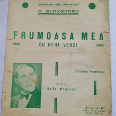 (T) Partitura muzicala veche - Frumoasa mea cu ochi verzi - P. Alexandru